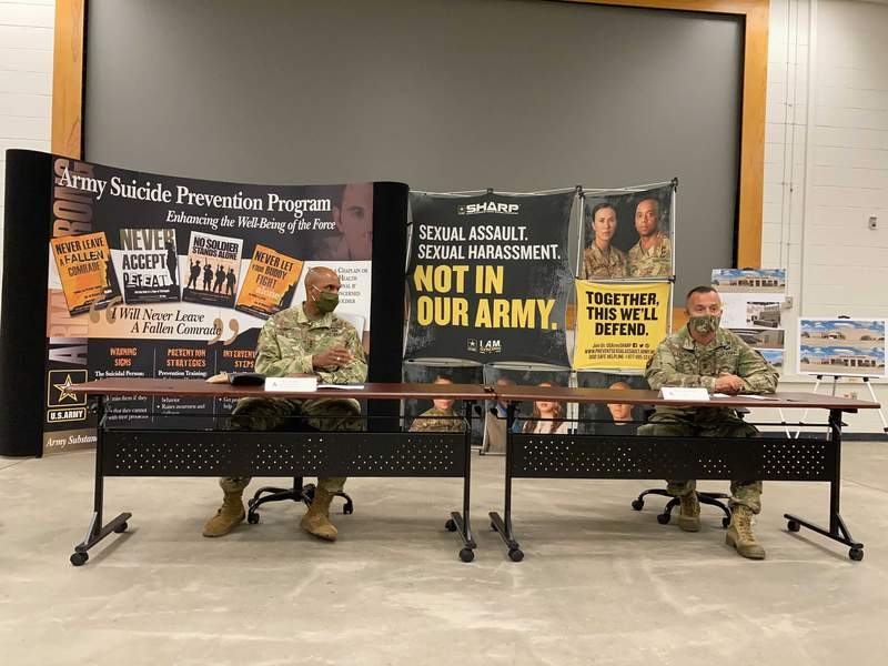 U.S. Army Deputy Chiefs of Staff Lt. Gen. Gary Brito, left, and Col. William Zielinski, discuss the People First Center, a new training and resource facility at Fort Hood, Texas on Thursday, Oct. 7, 2021. (Acacia Coronado/Report for America via AP)