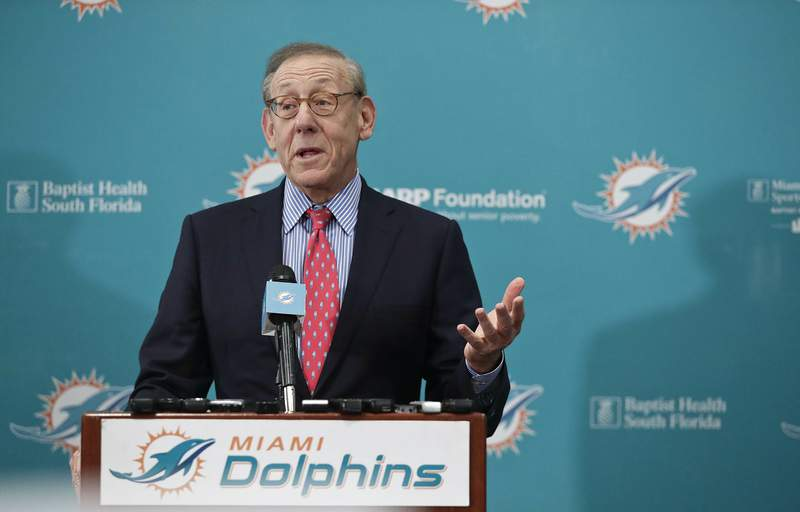 """FILE - In this Feb. 4, 2019, file photo, Miami Dolphin's owner Stephen Ross speaks during a news conference in Davie, Fla. Ross says he's confident the NFL will play in 2020, with or without spectators. I think there definitely will be a football season this year, Ross said Tuesday, May 26, 2020, during an interview on CNBC. The real question is will there be fans in the stadiums?""""(AP Photo/Brynn Anderson, File)"""