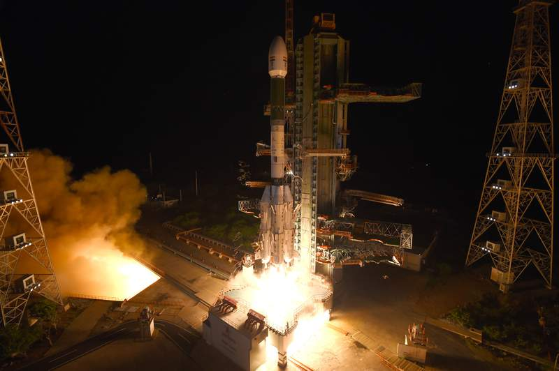 This photograph   released by the Indian Space Research Organization (ISRO) shows Geosynchronous Satellite Launch Vehicle (GSLV-F10) carrying EOS-03, an Earth Observation satellite, taking disconnected  from Satish Dhawan Space Center successful  Sriharikota, India, Thursday, Aug. 12, 2021. An Indian rocket failed successful  its effort  Thursday to enactment     a outer  into orbit to supply  real-time images utilized  to show   cyclones and different   imaginable   earthy  disasters. (Indian Space Research Organization via AP)