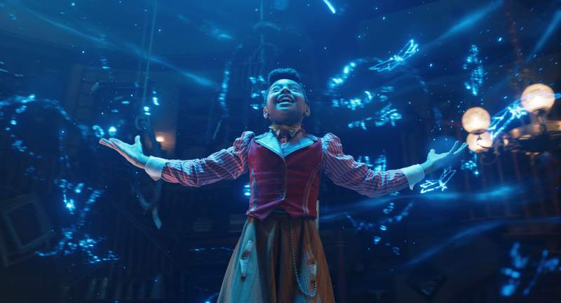 """This image released by Netflix shows Madalen Mills as Journey Jangle in a scene from the holiday special """"Jingle Jangle: A Christmas Journey.  (Netflix via AP)"""