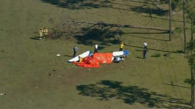 WKMG-TV's helicopter shows wreckage of plane near the Volusia County International Airport.