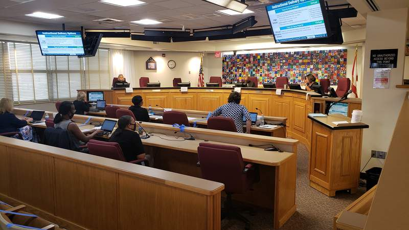 File photo shows the Duval County School Board meeting on June 23, 2020. Members discussed reopening schools amid pandemic.