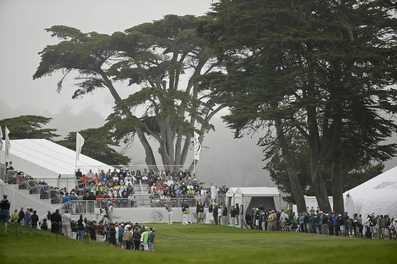 FILE - In this Friday, May 1, 2015 file photo, Jordan Spieth hits from the first tee of TPC Harding Park during round-robin play against Lee Westwood of England at the Match Play Championship in San Francisco.The PGA Championship starts Aug. 6 at Harding Park, delayed three months by the coronavirus pandemic.