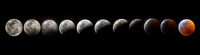 TOPSHOT - A composite photo shows all the phases of the so-called Super Blood Wolf Moon total lunar eclipse on Sunday January 20, 2018, in Miami, Flaorida. - The January 21 total lunar eclipse will be the last one until May 2021, and the last one visible from the United States until 2022. (Photo by Gaston De Cardenas / AFP)        (Photo credit should read GASTON DE CARDENAS/AFP via Getty Images)