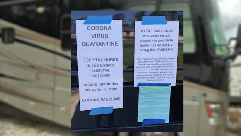 Sarah Lynch said she thought it was a good idea to park her family's RV in their circular driveway, just in case someone needed to isolate because of the new coronavirus.