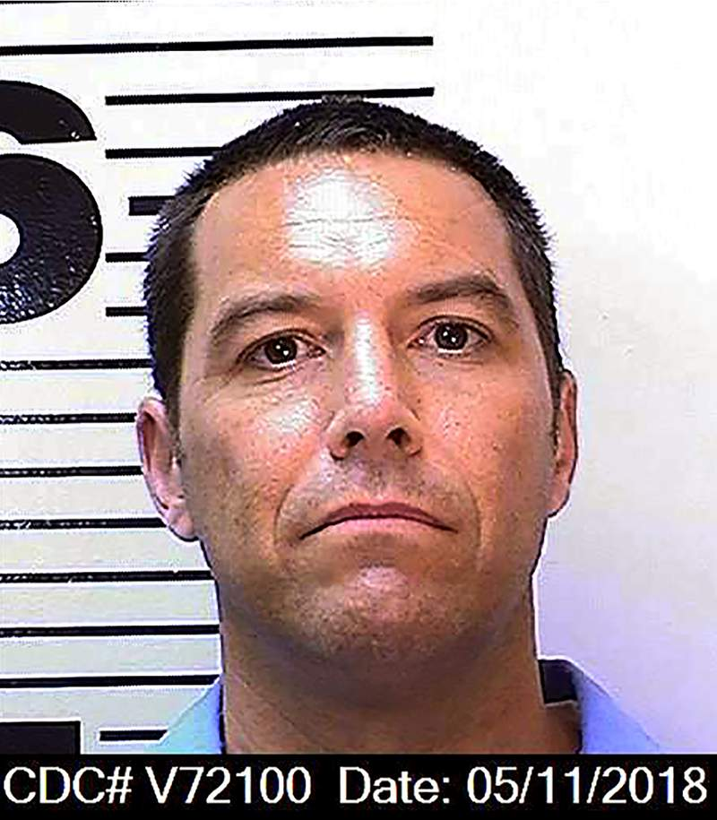 FILE - This May 11, 2018, file photo, from the California Department of Corrections and Rehabilitation, shows Scott Peterson. A California prosecutor says someone has filed an unemployment claim in the name of convicted murderer Peterson. Sacramento County District Attorney Anne Marie Schubert said it is one of at least 35,000 unemployment claims made on behalf of prison inmates between March and August 2020. (California Department of Corrections and Rehabilitation via AP, File)