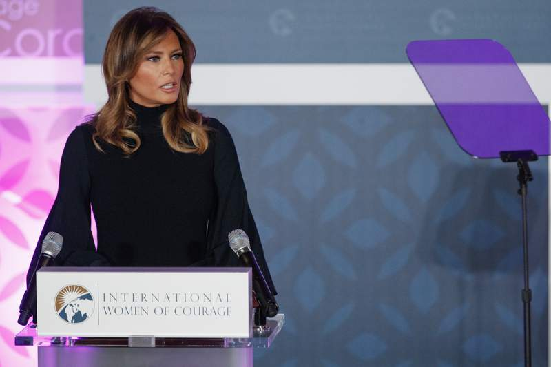 First lady Melania Trump looks to a teleprompter as she speaks during the 2020 International Women of Courage Awards Ceremony at the State Department in Washington, Wednesday, Feb. 4, 2020. (AP Photo/Carolyn Kaster)