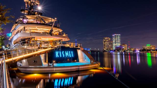 A supermoon rises over Shad Khan's yacht anchored on the St. Johns River in downtown Jacksonville.