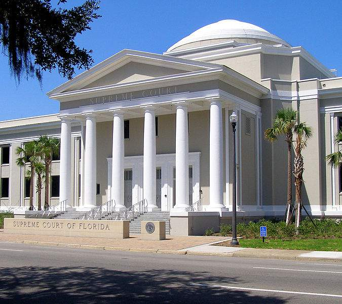 The front exterior of the Florida Supreme Court Building in Tallahassee, Florida, in 2011.