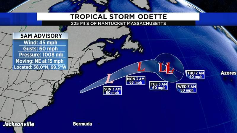 NHC Track for Tropical Storm Odette
