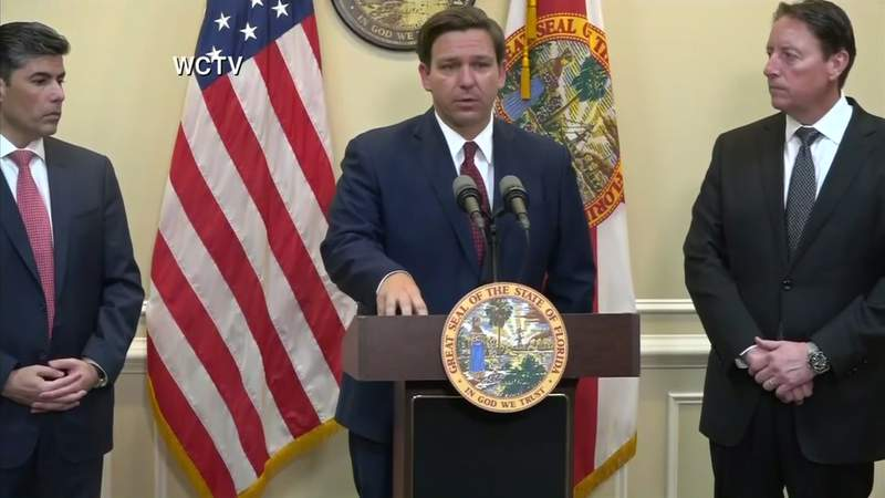 Flanked by House Speaker Jose Oliva and Senate President Bill Galvano, Gov. Ron DeSantis updates the state's coronavirus response.