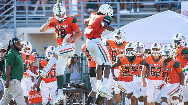 Carson Beck and Jaylen Smith celebrate a touchdown against Atlantic Coast in the Bold City Showdown.