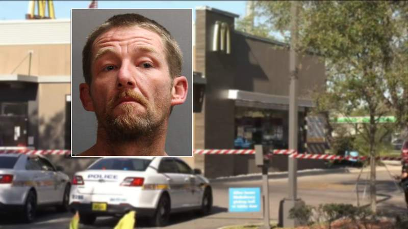 Russell Hanna, 38, is charged with murder in a stabbing at a McDonald's in Mandarin.