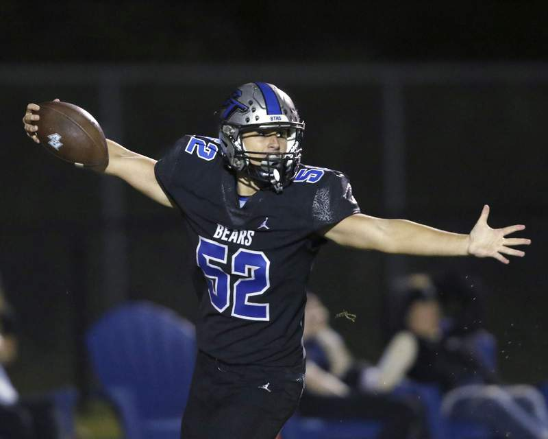 Bartram Trail linebacker Jacob Cutler scores on a fumble recovery in the fourth quarter of Friday night's game against Ponte Vedra. Bartram won the game 33-17.