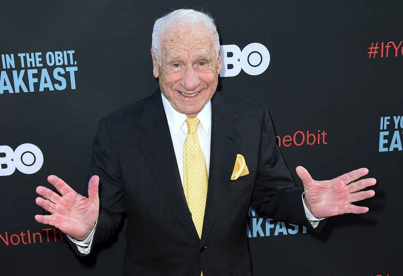 """FILE - In this May 17, 2017 file photo, Mel Brooks attends the LA Premiere of """"If You're Not In The Obit, Eat Breakfast"""" in Beverly Hills, Calif. Brooks has a memoir coming in November. It's called All About Me! My Remarkable Life in Show Business.  (Photo by Richard Shotwell/Invision/AP, File)"""