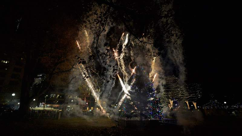 General atmosphere at the Annual Boston Christmas Tree Lighting at Boston Common Park on December 1, 2016 in Boston, Massachusetts. The Christmas tree is donated by Nova Scotia each year after Boston was the first to send aid following the 1917 explosion of a munitions ship in Halifax Harbor which killed more than 2,000 and injured more than 9,000. Photo by Paul Marotta