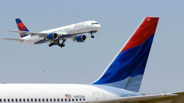 A Delta Air Lines plane takes off fromAtlanta's Hartsfield-Jackson International Airport.