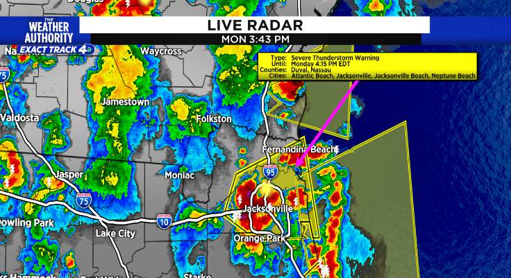 Duval under a severe thunderstorm warning until 4:15 pm