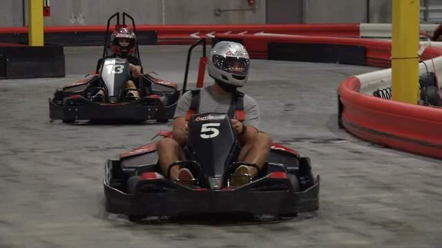 Jacksonville Jaguars quarterback Blake Bortles races at Autobahn Indoor Speedway.