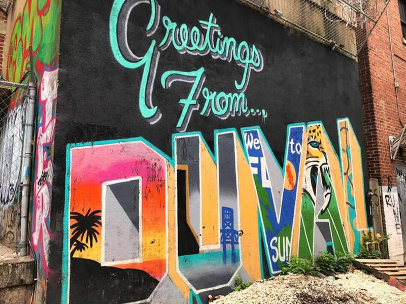 Greetings from DUUUVAL! Downtown Jacksonville is the home to over fifty murals. This little gem is right behind the Florida Theatre near Hyatt Regency Jacksonville Riverfront. (Photo by: Hyatt Regency Jacksonville Riverfront)