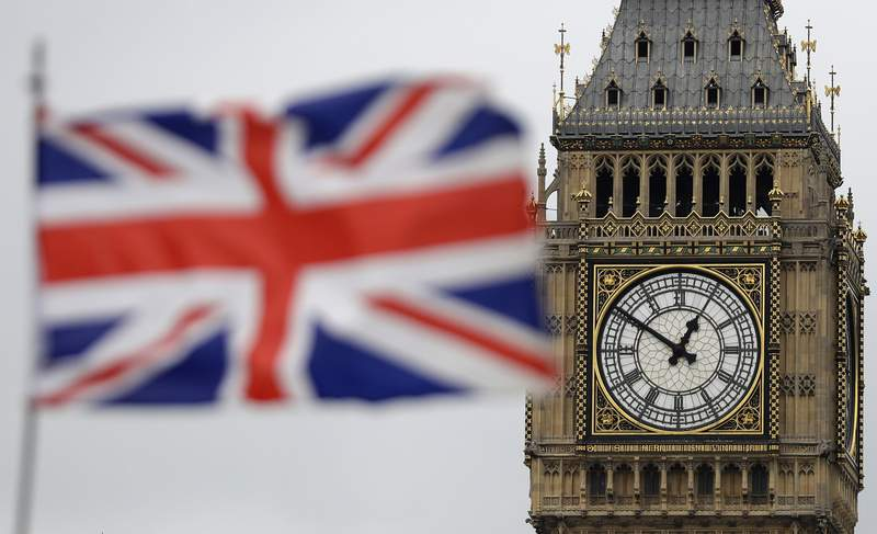 "FILE - In this Wednesday, March 29, 2017 file photo British Union flag waves in front of the Elizabeth Tower at Houses of Parliament containing the bell know as ""Big Ben"" in central London. Britain and the European Union have struck a provisional free-trade agreement that should avert New Years chaos for cross-border commerce and bring a measure of certainty to businesses after years of Brexit turmoil. The breakthrough on Thursday, Dec. 24, 2020 came after months of tense and often testy negotiations that whittled differences down to three key issues: fair-competition rules, mechanisms for resolving future disputes and fishing rights. (AP Photo/Matt Dunham, File)"