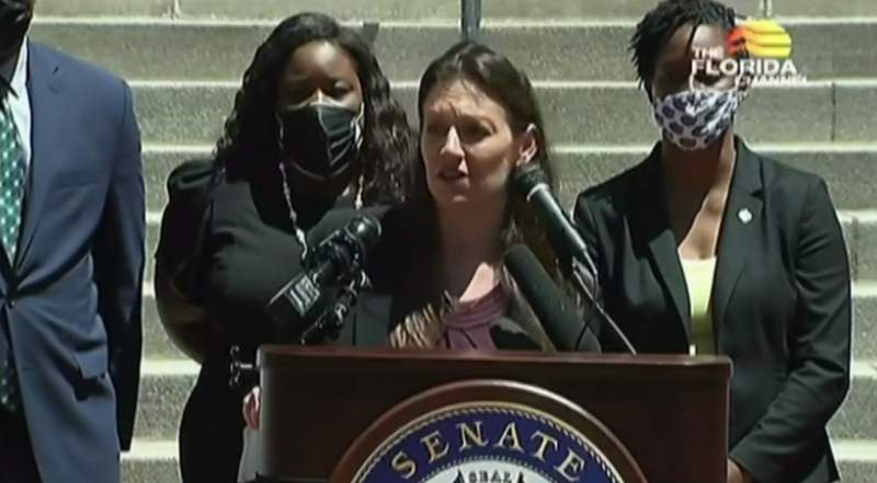 Florida Commissioner of Agriculture Nikki Fried stands with Democrats who came out against HB 1.