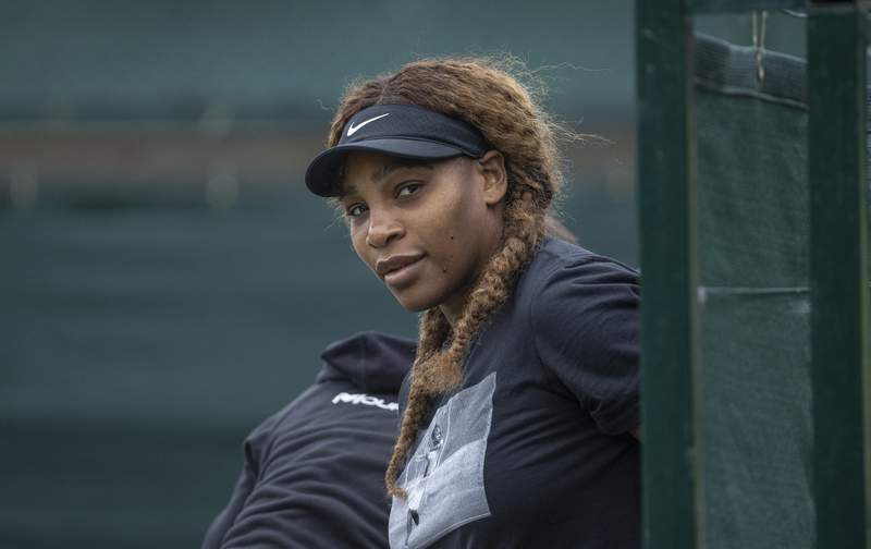 USA's Serena Williams prepares for a practice session, ahead of the Wimbledon Tennis Championships, in London, Sunday, June 27, 2021. (David Gray/Pool Photo via AP)