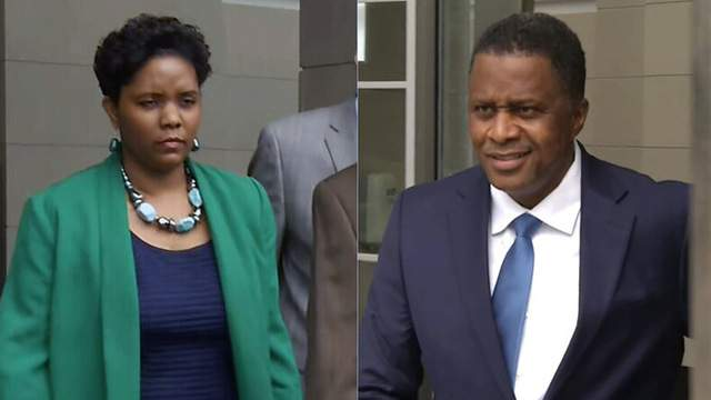 Katrina Brown and Reggie Brown leaving federal courthouse after a hearing.