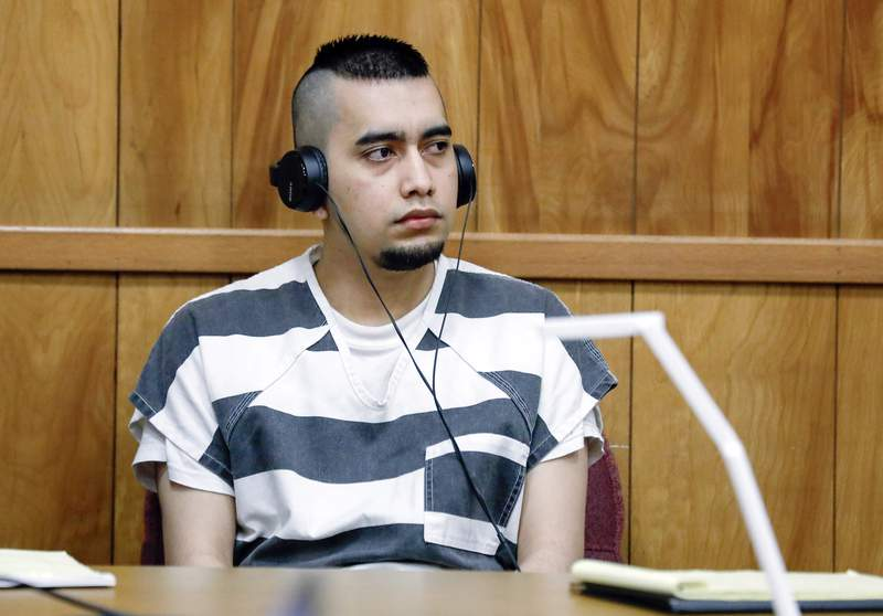 FILE - In this July 15, 2021, file photo, Cristhian Bahena Rivera appears during a hearing at the Poweshiek County Courthouse in Montezuma, Iowa. Bahena Rivera was convicted of killing University of Iowa student Mollie Tibbetts in 2018. The lead investigator in the death, Division of Criminal Investigation agent Trent Vileta expressed confidence Tuesday, July 27, 2021, that the rightman was convicted, rejecting defense claims that her abduction could be tied toother local criminal suspects. (Jim Slosiarek/The Gazette, Pool, File)
