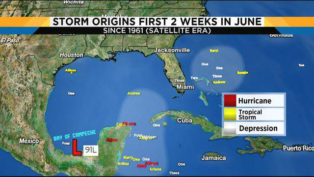 Tropical Invest 91L in the southern Gulf located in area where no storms have developed since 1961 during the first half of June.