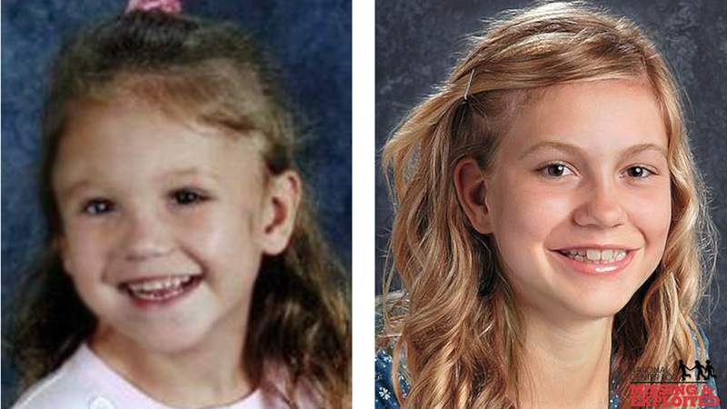 Age progression photo from National Center for Missing and Exploited Children shows HaLeigh Cummings on the left at age 5. On the right, what she's believed to look like at age 16.