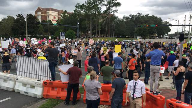 A crowd of protesters ahead of white nationalist Richard Spencer's speaking engagement at the University of Florida