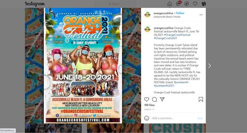 Flyer for Orange Crush Festival.