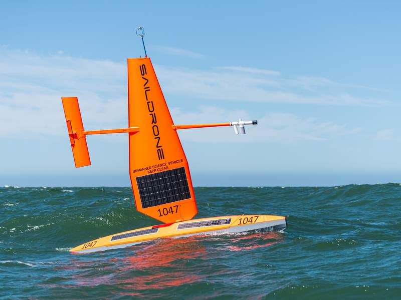 Saildrone is an uncrewed surface vehicle (USVs) with an instrument payload sailing in the ocean to collect weather data.