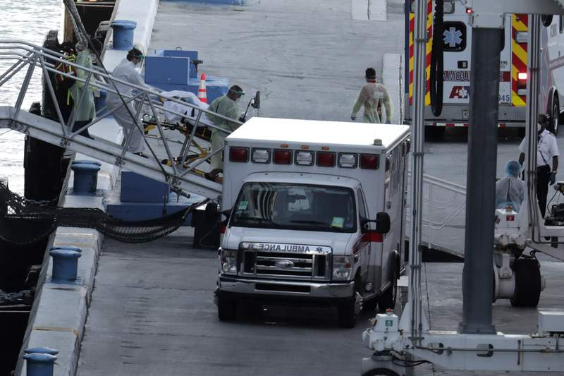 A person on a stretcher is removed from Carnival's Holland America cruise ship Zaandam at Port Everglades during the new coronavirus pandemic, Thursday, April 2, 2020, in Fort Lauderdale, Fla. Those passengers that are fit for travel in accordance with guidelines from the U.S. Centers for Disease Control will be permitted to disembark. (Photo by Lynne Sladky)