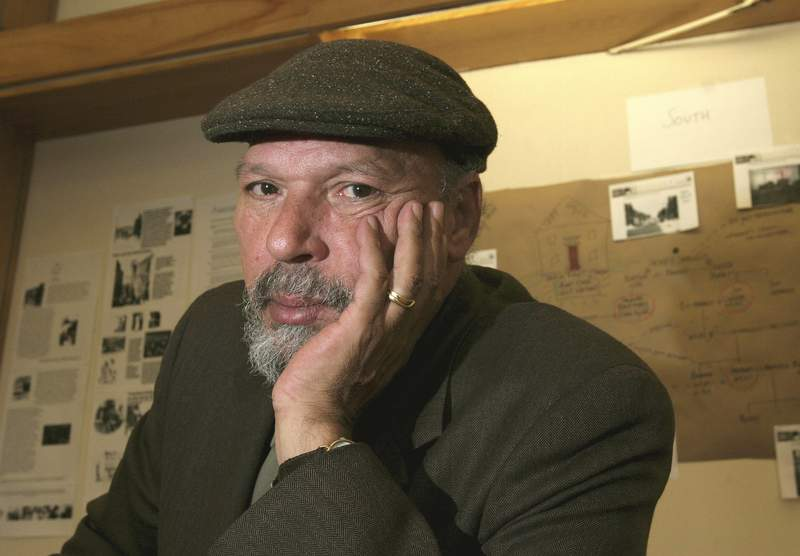 FILE - Playwright August Wilson poses for a portrait at Yale University in New Haven, Conn. on April 7, 2005. The University of Pittsburgh has acquired the archive of the late playwright and Pittsburgh native son August Wilson, a trove that contains recordings, letters artwork, poetry, unpublished work and notebooks. (AP Photo/ Michelle McLoughlin, File)