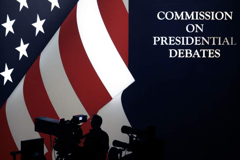 FILE - The set is shown during a presidential debate at UNLV on Oct. 19, 2016, in Las Vegas. C-SPAN said in a statement Friday, Oct. 9, 2020, that its political editor, Steve Scully, host of the second presidential debate, didnt initiate a questionable Twitter exchange with Anthony Scaramucci and that the Commission on Presidential Debates is investigating with help from authorities.   (AP Photo/Julio Cortez, FILE)