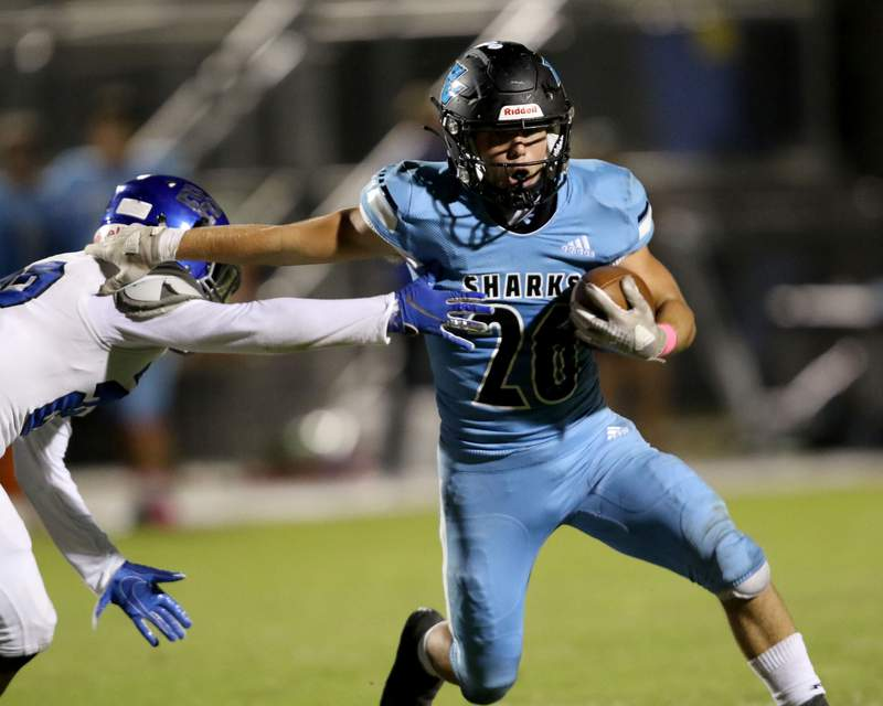Ponte Vedra running back Campbell Parker eludes a Matanzas defender in the third quarter of their 38-10 win against Matanzas on Oct. 2.