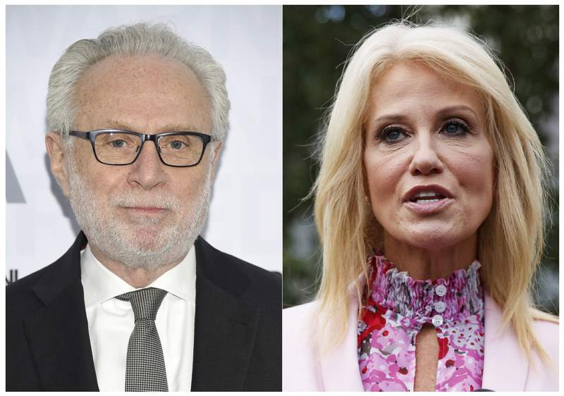 This combination of photos shows CNN's Wolf Blitzer at the WarnerMedia Upfront at Madison Square Garden in New York on May 15, 2019, left, and Counselor to the President Kellyanne Conway speaking to media outside the West Wing of the White House in Washington on July 25, 2019. Blitzer and Conway had a tense exchange Thursday when the anchor sought reaction to her husband's televised criticism of President Trump a day earlier. (AP Photo)