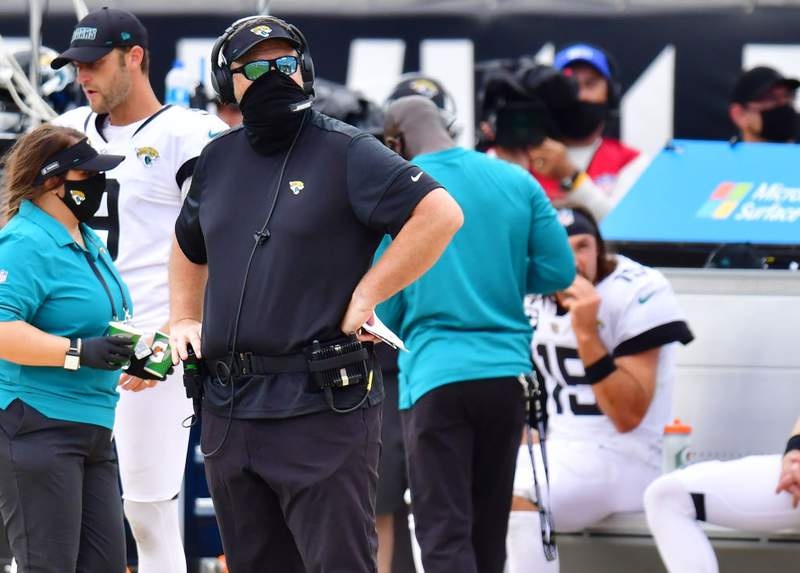 Head coach Doug Marrone of the Jacksonville Jaguars looks to the replay board during the fourth quarter against the Indianapolis Colts at TIAA Bank Field on September 13, 2020 in Jacksonville, Florida. (Photo by Julio Aguilar/Getty Images)