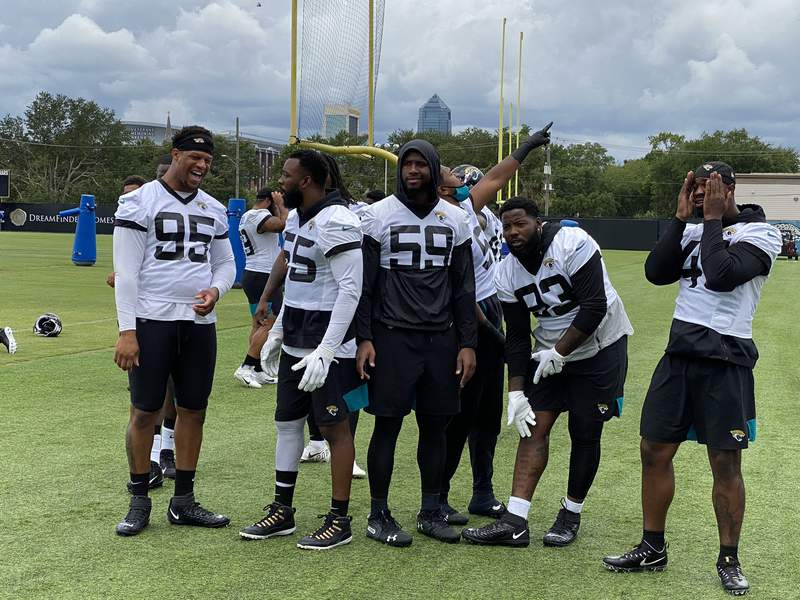 Members of the Jaguars defense on the field during Thursday's organized team activities.