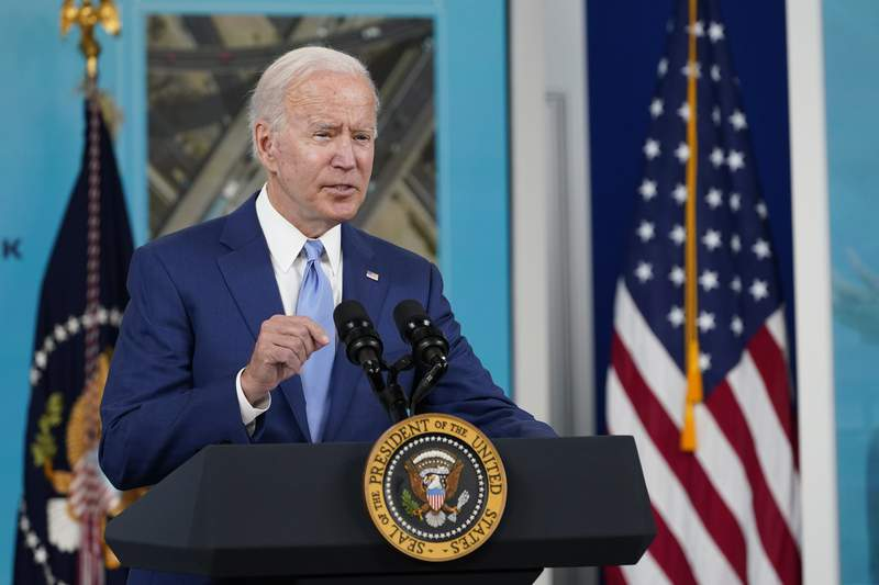 FILE - In this Oct. 8, 2021, file photo President Joe Biden speaks about the September jobs report from the South Court Auditorium on the White House campus in Washington. Biden is set to hold his first bilateral talks as president with an African leader on Thursday, hosting Kenyan President Uhuru Kenyatta as war and a humanitarian crisis roil neighboring Ethiopia, according to the White House. (AP Photo/Susan Walsh, File)