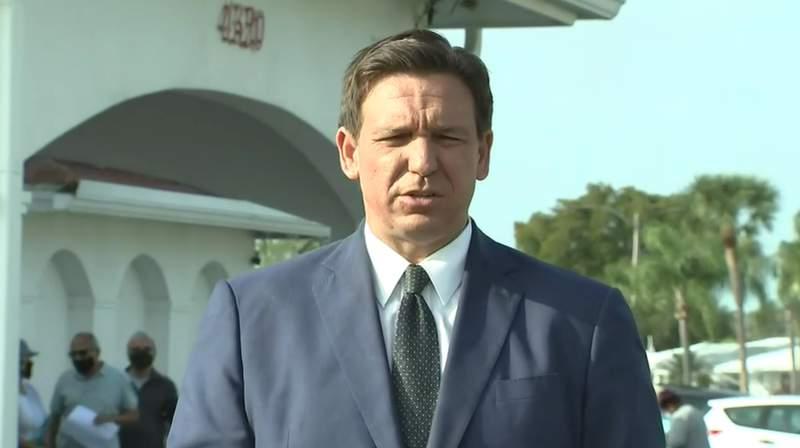 Gov. Ron DeSantis during a press conference in Pinellas Park.