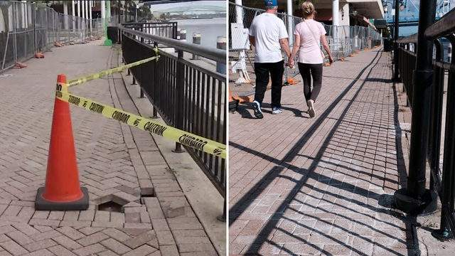 The image on the left was taken Tuesday by News4Jax. The photo on the right was posted Friday on the City of Jacksonville's Facebook page.