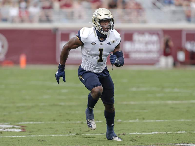 Wide receiver Jalen Camp of the Georgia Tech Yellow Jackets runs a route during the game against the Florida State Seminoles at Doak Campbell Stadium on Bobby Bowden Field on September 12, 2020 in Tallahassee, Florida. The Yellow Jackets defeated the Seminoles 16 to 13. (Photo by Don Juan Moore/Getty Images)
