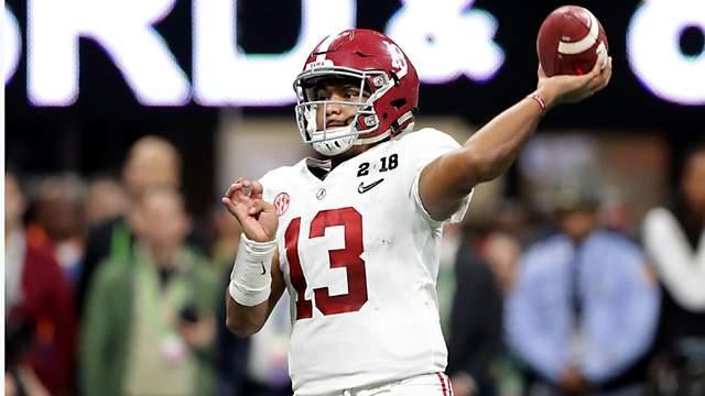 Alabama quarterback Tua Tagovailoa passes during Monday night's College Football Playoff championship game.