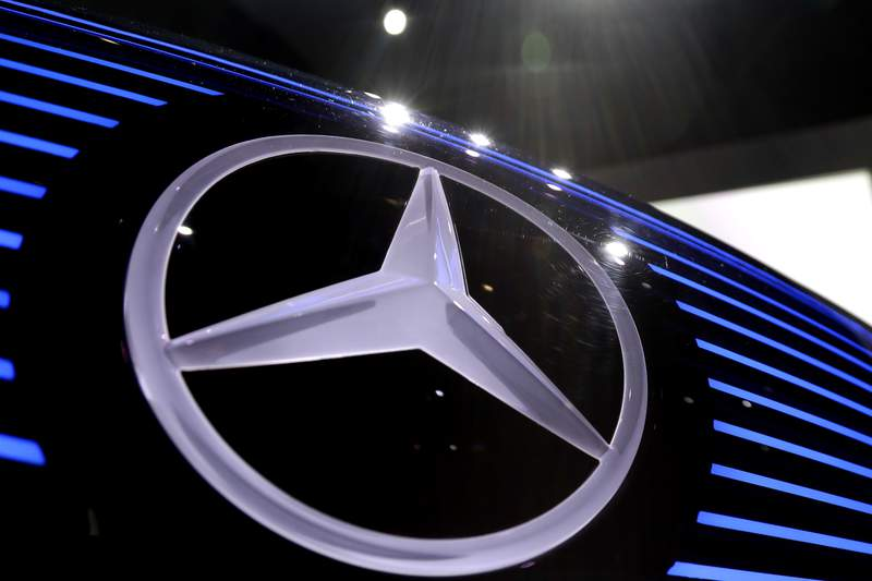 FILE - In this Feb. 2, 2017 file photo the logo of Mercedes is photographed in Stuttgart, Germany. Germany's Daimler Truck AG and Sweden's Volvo Group say they plan to jointly manufacture hydrogen fuel cells for trucks in Europe starting in 2025 and called on European Union policy makers to boost incentives for climate-neutral technologies. (AP Photo/Matthias Schrader,file)