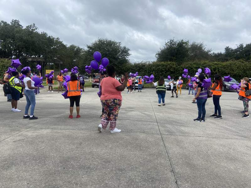 Duval County bus drivers gather to honor bus drivers who passed away from COVID-19.