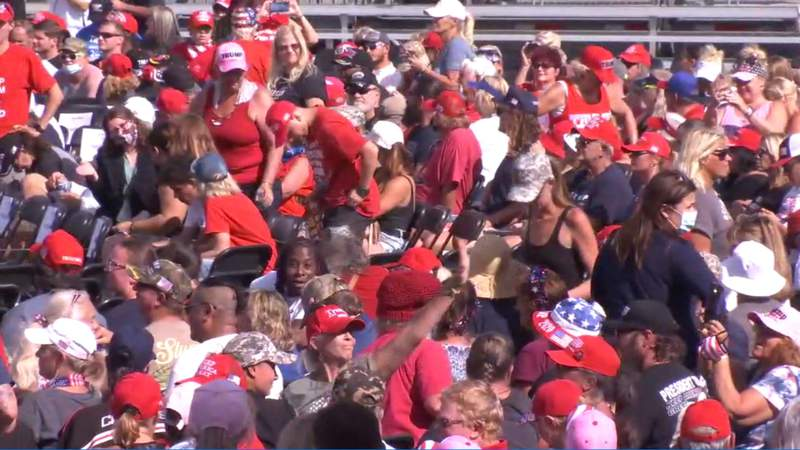 Crowd of supporters anxiously await President Trump's arrival in Jacksonville