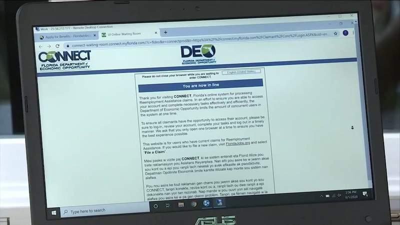 File photo of Florida's unemployment assistance portal